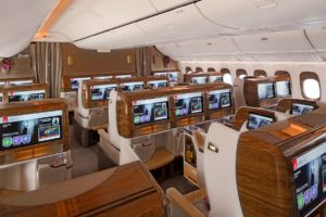Emirates Business Class Cabin on Boeing 777 300ER Review 1