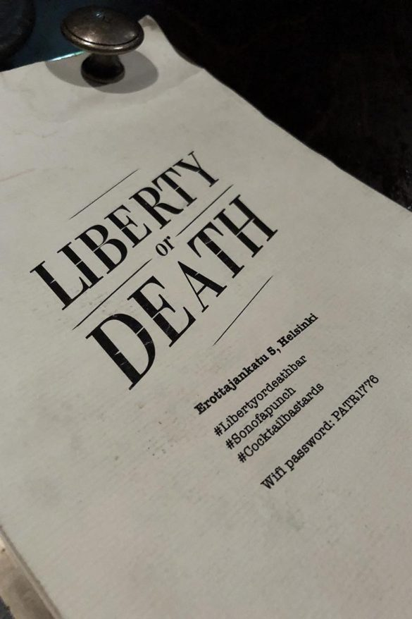 liberty or death Helsinki cocktail bar
