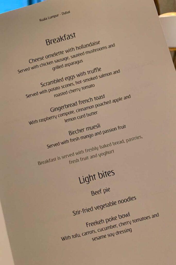 emirates first class covid menu 12