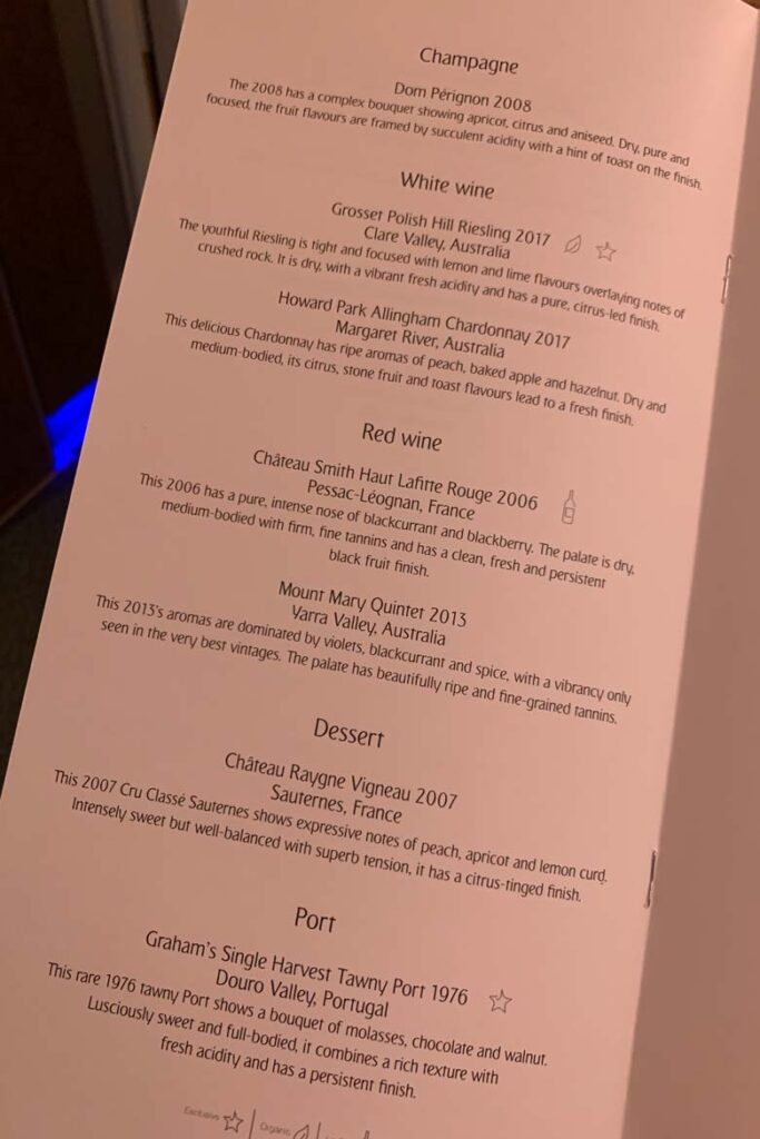emirates first class food menu